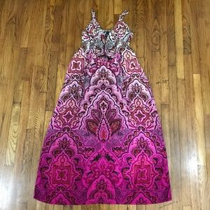 LUCKY BRAND Pink Color Gradient Maxi Summer Dress
